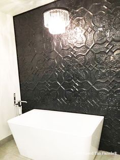 Pressed Tin Panels Shield design powder coated in Black Gloss installed as bathroom feature wall Gothic Bathroom Decor, Art Deco Bathroom, Small Bathroom, Bathroom Ideas, Black Feature Wall, Feature Walls, Bathroom Feature Wall, Bathroom Remodel Pictures, Pressed Metal