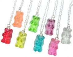 Items similar to Candy Bear Necklace - Kawaii fake gummy miniature food jewelry on Etsy Kitsch, Cute Jewelry, Jewelry Accessories, Diy Bracelets To Sell, Biscuit, Friendship Necklaces, Things To Buy, Stuff To Buy, Gummy Bears