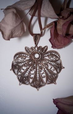 Copper filigree flower Art Nouveau Pendant