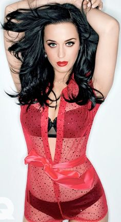 Katy Perry ♥ love her outfit. Bought something similar but the lingerie is red and the cape-shirt is black and lacy. VERY High heels.