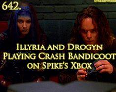 Illyria and Drogyn playing Crash Bandicoot - Crash was one of my FAVORITE games when I was younger! I still play it today though. :)