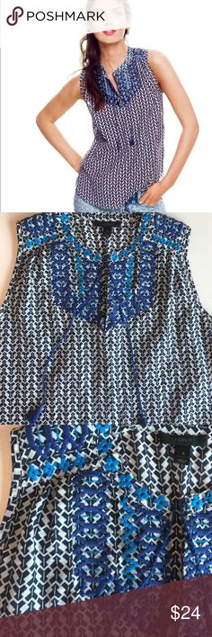 J. Crew Tribal Print Top with Embroidery This top is perfect for a spring getaway or for a fun summer day. Light and comfy with beautiful embroidery and tassels. Gently used, no flaws. 73% cotton, 27% soie.    *check out my closet for bundle savings* J. Crew Tops