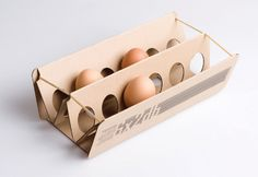 concept for egg carton by Éva Valicsek, a design student at the Institute of Applied Arts, in Hungary