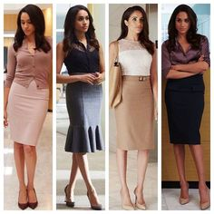 Pencil Rock + Scarpin is Rachel Zane's favorite combination of suits! one - lawyer fashion Trajes Business Casual, Business Casual Outfits, Professional Outfits, Office Outfits, Work Outfits, Business Fashion, Lawyer Fashion, Business Mode, Meghan Markle Suits