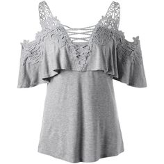Dew Shoulder Overlay Applique T-shirt Gray ($14) ❤ liked on Polyvore featuring tops, t-shirts, grey t shirt, grey tee, gray top, gray tees and applique top