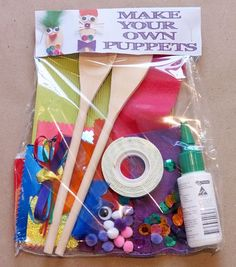 Make your own puppet making kit! This would be a good service project for Ronald McDonald House