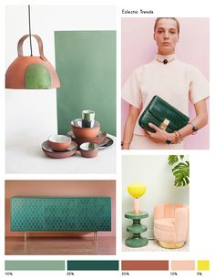 COLOR INSPIRATION NO.15 with Celadon, Basil, Pinewood, Rose & Yellow via Eclectic Trends