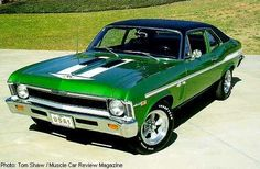 Chevy Nova SS -- my first brand new car was a 1972 Chevy Nova.  OK.  It wasn't an SS.  And it wasn't a V-8. It had a manual transmission - on the column.  It was green, however.