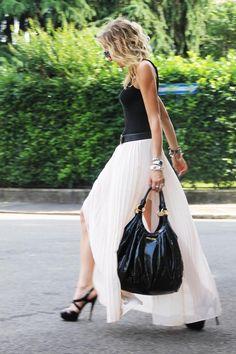 Shop this look on Kaleidoscope (skirt, top, heels, bag, belt, bracelet)  http://kalei.do/WAbmYBpTqb4a0zXO