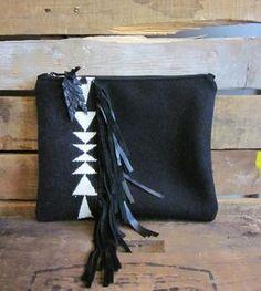 Leather & Wool Black Arrow Fringed Clutch
