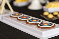 Cookies at an Archery Themed Birthday Party via Kara's Party Ideas Kara'sPartyIdeas.com.  Could use for Brave party!