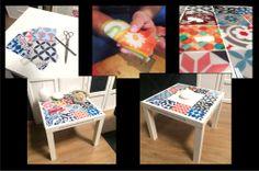 Decoración Mesa Lack con azulejos adhesivos