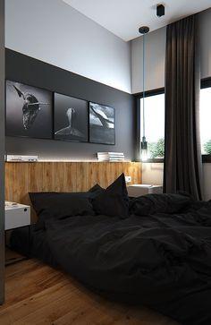 Inspirations Mens Bedroom Ideas - All Bedroom Design Black Bedroom Design, Home Room Design, Home Interior Design, Industrial Bedroom Design, Interior Decorating, Bedroom Setup, Home Decor Bedroom, Bedroom Ideas, Mens Room Decor