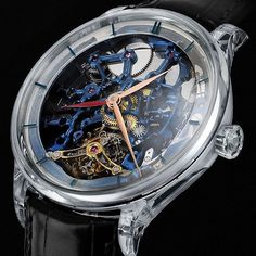 H. Moser & Cie. Venturer Tourbillon Dual Time Sapphire Blue Skeleton Watch - by Kenny Yeo - See more of this bold piece at: http://www.ablogtowatch.com/h-moser-cie-venturer-tourbillon-dual-time-sapphire-blue-skeleton-watch/ @moserwatches #tourbillon #luxu