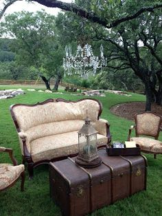 Revive Vintage Rentals - seating area.  I would love to do Christmas card pics here!