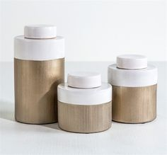 Interlude Kaylee Tea Jars. Glazed in white and metallic champagne, the Kaylee Tea Jars look both artisanal and chic. – Modish Store