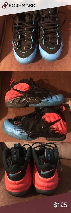 "Nike foamposites sz10 ""spider-man"" Nike foamposites, worn a few times. Sz10 Nike Shoes Athletic Shoes"