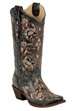 Corral Distressed Black/Brown And Pink Cowgirl Boots