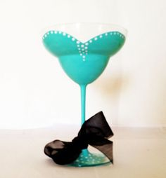 Tiffany Blue Margarita Glass - black ribbon - Audrey Hepburn Inspired | Durban Decor