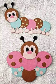 caterpillar and butterfly with circles scrapbook embellishment girl boy baby punches spring summer Foam Crafts, Diy And Crafts, Arts And Crafts, Paper Crafts, Diy Paper, Paper Punch Art, Punch Art Cards, Circle Crafts, Kids Birthday Cards
