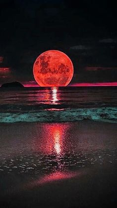 Red Moon setting across the sea. Awesome painting inspiration, for beginners or advanced!