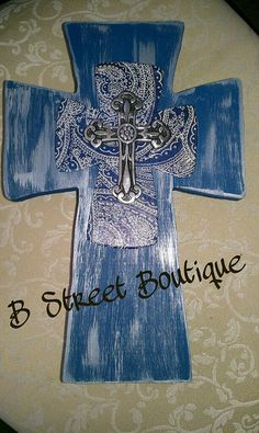 Blue Silver and Paisley Wooden Wall Cross by bstreetboutique