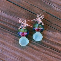 "Seafoam Chalcedony Hummingbird Statement Gemstone and Boro Lampwork Bead Sterling Silver Handmade Earrings. Magnolia Jewel Designs. 20% off coupon code ""APRIL20"" #jewelry #coupon #Etsy"