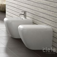 Vaso a terra Bianco Shui - Vaso Bianco da bagno Ceramica Cielo