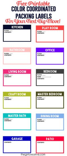 Color Coordinated Packing Labels are a MUST HAVE for your next big move. Luckily for you they are FREE! All you need to do is print!