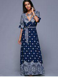 Bohemian Style Tie Belt High Slit Maxi Dress (PURPLISH BLUE,ONE SIZE(FIT SIZE XS TO M)) | Sammydress.com Mobile