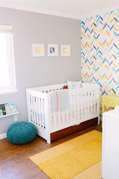 Bright and Bold Interior Desgin for Kids Rooms - Baby Silas and His Fun Nursery | Herringbone Shuffle Wall Stencil | Royal Design Studio