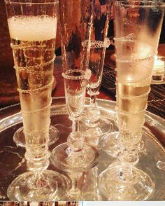 Silver tray with Champagne Flutes by Juliska