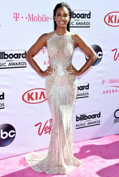 Billboard Music Awards 2016: All the Best and the Boldest Looks from the Red Carpet | People - Kelly Rowland in a silver Labourjoisie sheer dress