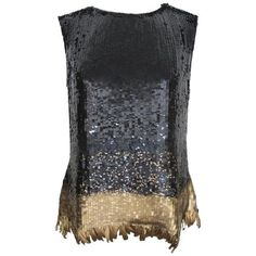 Preowned Oscar De La Renta Chic Black Sequined Evening Blouse With... ($1,695) ❤ liked on Polyvore featuring tops, blouses, black, gold blouse, special occasion tops, holiday blouses, gold sequin top and black sequin blouse