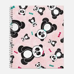 This pretty notebook features boy and girl panda bears in a colorful freefall with fun textures and patterns. Choose from a light blue or light pink background. Makes the perfect office or school accessory!   FEATURES: - Front and Back Cover: Full color waterproof laminate - 75 sheets - College ruled paper - Clear acrylic spiral binding