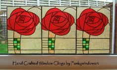 Mackintosh Style Red Rose Panels x 3 Static Window Clings