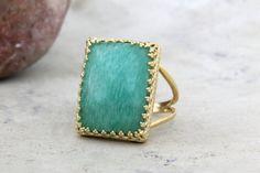 20% OFF - amazonite ring,rectangular ring,gold ring,gold filled ring,gemstone ring,statement ring,big ring