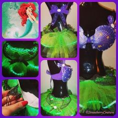 ::The Little Sparkling Mermaid:: A reversible tutu that can be transformed into a different character! ~*Inspired by Ariel*~ To purchase your own custom Strawberry Couture rave outfit, email Strawberrified@gmail.com  #disney #ariel #thelittlemermaid #mermaid #plurmaid #sparkles #glitter #LED #lightuptutu #lightup #tutu #shellbra #ravebra #ravewear #ravegear #rave #edm #edc #ezoo #umf #halloween #costume #plur