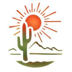 Southwest Landscape - Stencil by Dinair - Fantasy - Stencils Desert Drawing, Dibujos Tattoo, Flag Quilt, Silhouette Clip Art, Southwest Art, Wallpaper Iphone Cute, Native American Art, Rock Art, Painted Rocks