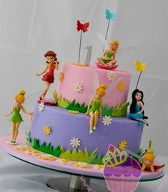 Tinkerbell Cake & Cupcakes for Cheyenne's Birthday Tinkerbell Birthday Cakes, Fairy Birthday Cake, 4th Birthday Cakes, Tinkerbell Party, Tangled Party, Princess Birthday, Birthday Ideas, Bolo Tinker Bell, Fairy Food