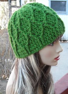CROCHET PATTERN PDF - Instant Digital Download - Crocheted Green Smurf Hat - CsN sell finished items
