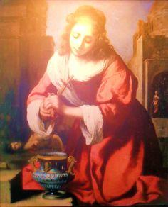 'Sint Praxedes' door Johannes Vermeer uit 1655. Sint Praxedes verzorgt de lichamen van christelijke martelaren in het oude Rome. Een zeldzaam thema en een opvallende compositie die ontleend lijkt aan een Italiaans voorbeeld. Specialisten discussiëren nog over de vraag of dit een echte Vermeer is.