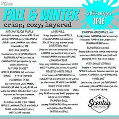 Fall & Winter 2017 scents get them now before it's too late! www.rstonecipher.scentsy.us