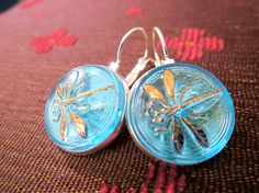 Vintage glass button earrings, aqua blue glass with dragonflies, silver leverbacks