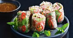 Create a kaleidoscope of colour and flavour with these rice paper rolls which are gluten free, low in fat and kilojoules.