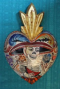 Catrina Hand Carved & Painted Wood Heart Muerto Day of the Dead Mexican Folk Art