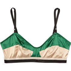 Marni Stretch silk-satin soft-cup bra ($220) ❤ liked on Polyvore featuring intimates, bras, underwear, lingerie, tops, women, lingerie bras, satin bra, black bra and marni