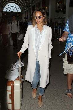 Jessica Alba Wool Coat - Jessica Alba was spotted at LAX looking sleek in her white Gerard Darel coat.