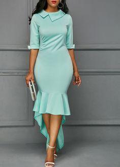 Half Sleeve Asymmetric Hem Aqua Sheath Dress on sale only US$33.95 now, buy cheap Half Sleeve Asymmetric Hem Aqua Sheath Dress at liligal.com