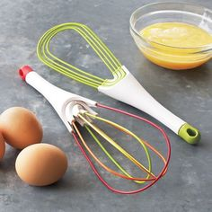 Twist Whisk, stores flat.  So necessary. Can't stand when my whisks get all bent in the drawer.